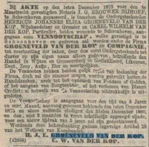Akte samenwerking broers A.J. Groeneveld van der Kop en C.W. van der Kop