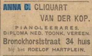 Anna C. Cliquart pianoles 09-04-1927 Telegraaf