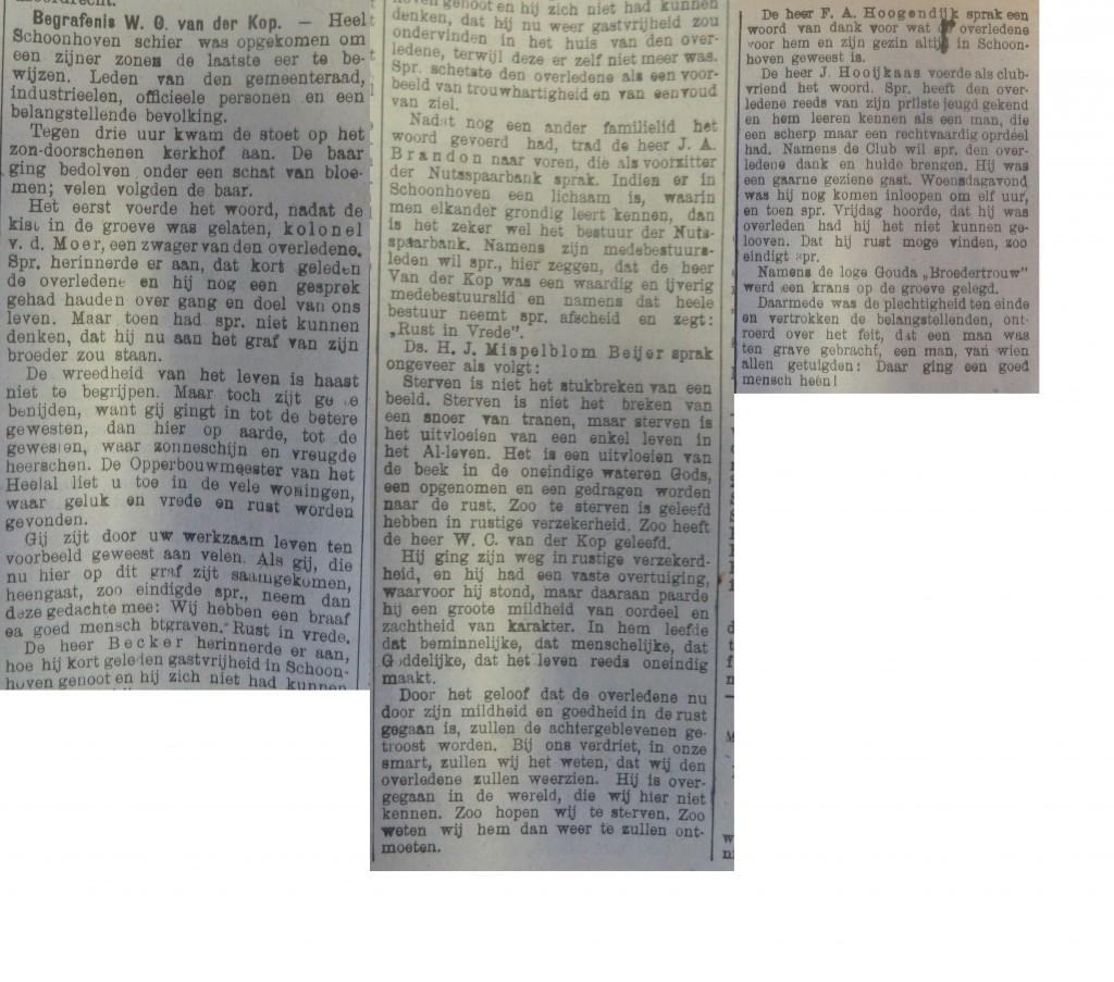 Artikel begrafenis WC van der Kop Schoonhovense Courant 25-08-1924