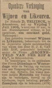 Openbare verkoping nalatenschap H.J.E. Groeneveld van der Kop